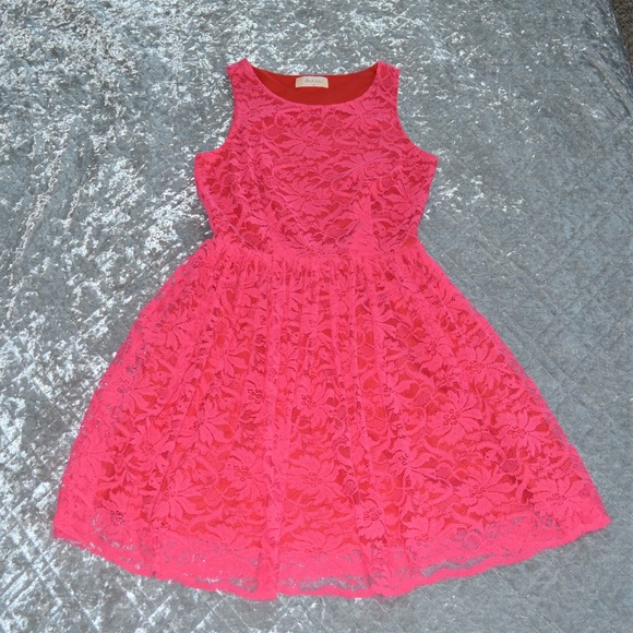 Altar'd State Dresses & Skirts - Altar'd State Hot Pink Red Lace A-Line Dress XS
